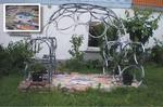 Mein selbstgebauter Gartenpavillion aus alten Fahrradfelgen und Restfliesen